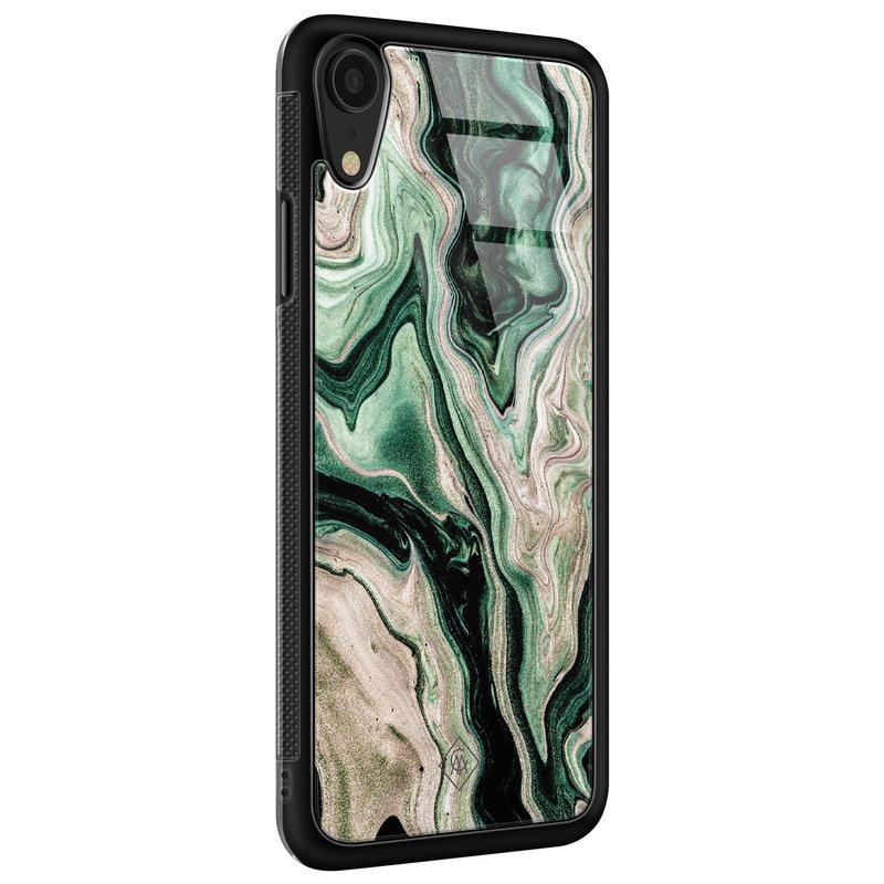 Casimoda iPhone XR glazen hardcase - Green waves