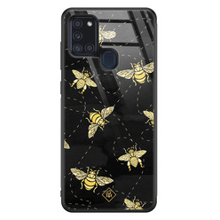 Casimoda Samsung Galaxy A21s glazen hardcase - Bee yourself