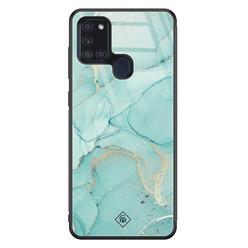 Casimoda Samsung Galaxy A21s glazen hardcase - Touch of mint