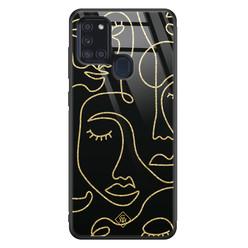 Casimoda Samsung Galaxy A21s glazen hardcase - Abstract faces