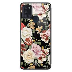 Casimoda Samsung Galaxy A21s glazen hardcase - Flowerpower