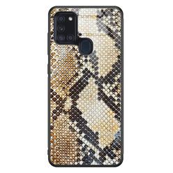 Casimoda Samsung Galaxy A21s glazen hardcase - Golden snake