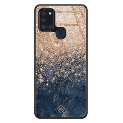 Casimoda Samsung Galaxy A21s glazen hardcase - Marmer blauw rosegoud
