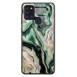 Casimoda Samsung Galaxy A21s glazen hardcase - Green waves
