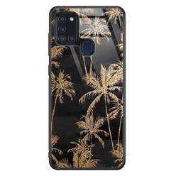 Casimoda Samsung Galaxy A21s glazen hardcase - Palmbomen