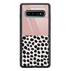 Casimoda Samsung Galaxy S10 Plus glazen hardcase - Pink dots
