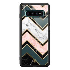 Casimoda Samsung Galaxy S10 Plus glazen hardcase - Marmer triangles