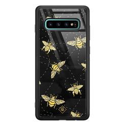 Casimoda Samsung Galaxy S10 Plus glazen hardcase - Bee yourself
