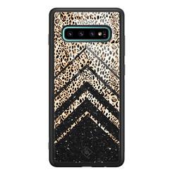 Casimoda Samsung Galaxy S10 Plus glazen hardcase - Chevron luipaard