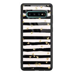 Casimoda Samsung Galaxy S10 Plus glazen hardcase - Hart streepjes