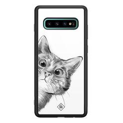Casimoda Samsung Galaxy S10 Plus glazen hardcase - Peekaboo