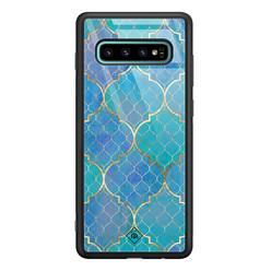 Casimoda Samsung Galaxy S10 Plus glazen hardcase - Geometrisch blauw