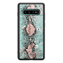 Casimoda Samsung Galaxy S10 Plus glazen hardcase - Baby snake