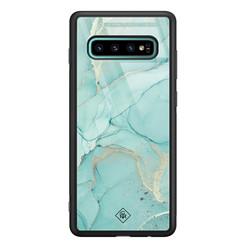 Casimoda Samsung Galaxy S10 Plus glazen hardcase - Touch of mint