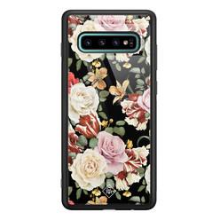 Casimoda Samsung Galaxy S10 Plus glazen hardcase - Flowerpower