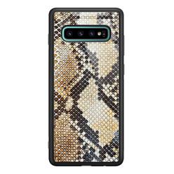 Casimoda Samsung Galaxy S10 Plus glazen hardcase - Golden snake
