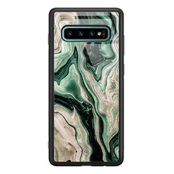 Casimoda Samsung Galaxy S10 Plus glazen hardcase - Green waves