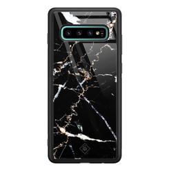 Casimoda Samsung Galaxy S10 Plus glazen hardcase - Marmer zwart