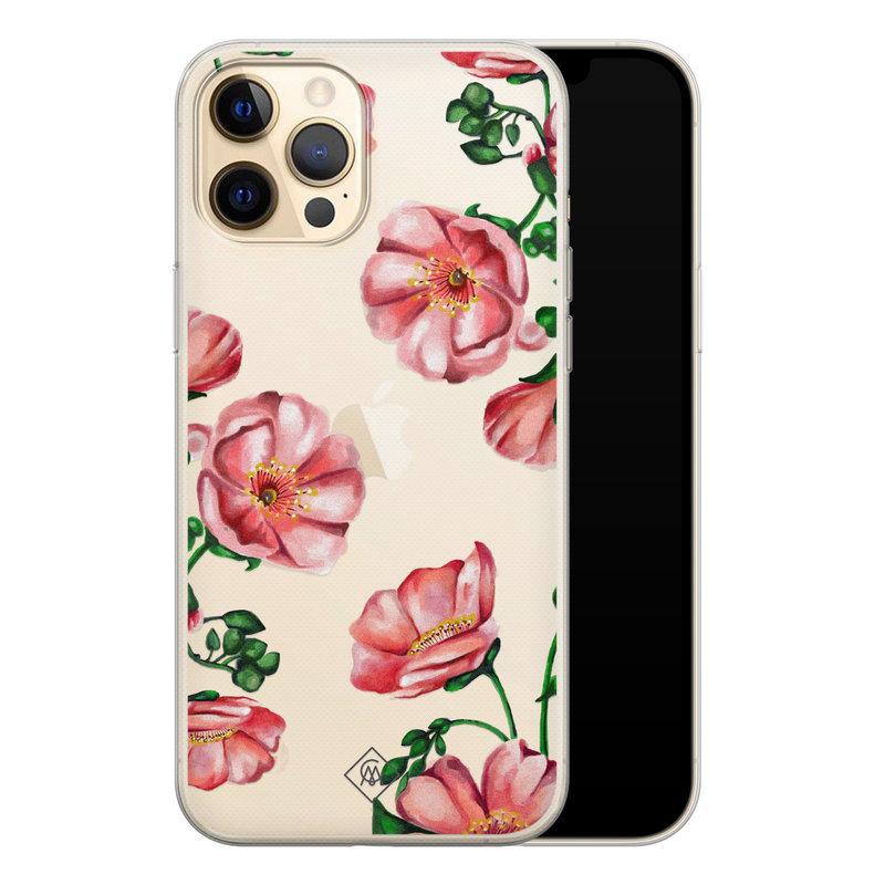Casimoda iPhone 12 Pro transparant hoesje - Red flowers