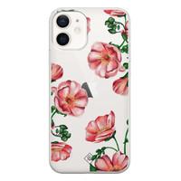 Casimoda iPhone 12 transparant hoesje - Red flowers