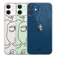 Casimoda iPhone 12 transparant hoesje - Abstract faces