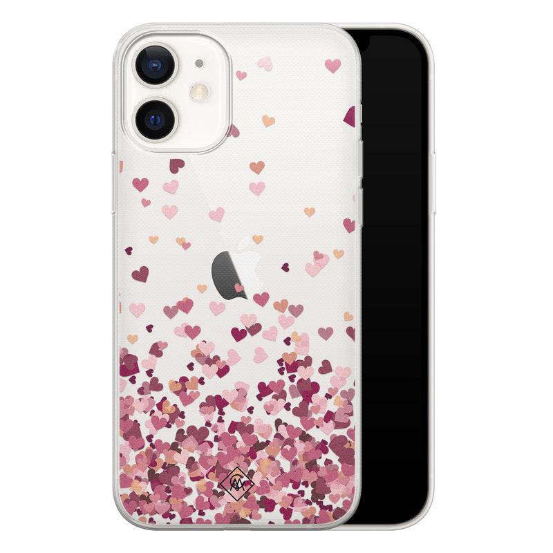 Casimoda iPhone 12 transparant hoesje - Falling hearts