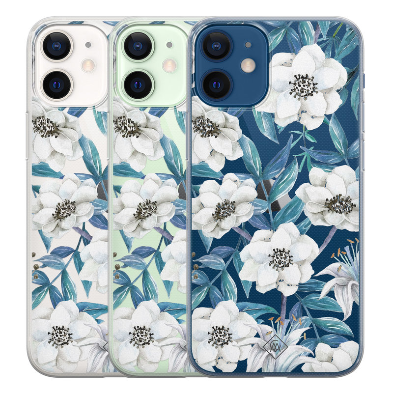 Casimoda iPhone 12 mini transparant hoesje - Touch of flowers