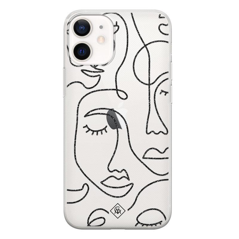 Casimoda iPhone 12 mini transparant hoesje - Abstract faces