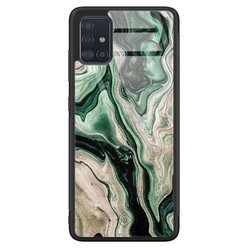 Casimoda Samsung Galaxy A51 glazen hardcase - Green waves