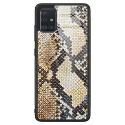 Casimoda Samsung Galaxy A51 glazen hardcase - Golden snake