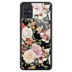 Casimoda Samsung Galaxy A51 glazen hardcase - Flowerpower