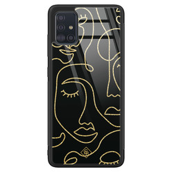 Casimoda Samsung Galaxy A51 glazen hardcase - Abstract faces