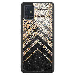 Casimoda Samsung Galaxy A51 glazen hardcase - Chevron luipaard
