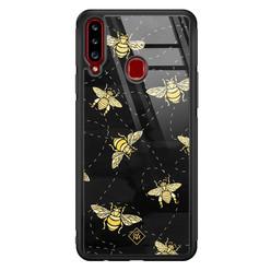 Casimoda Samsung Galaxy A20s glazen hardcase - Bee yourself