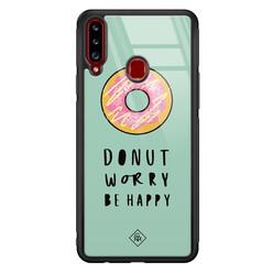 Casimoda Samsung Galaxy A20s glazen hardcase - Donut worry