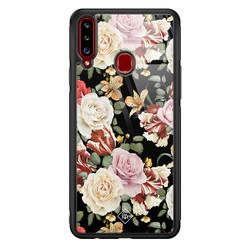 Casimoda Samsung Galaxy A20s glazen hardcase - Flowerpower