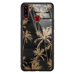 Casimoda Samsung Galaxy A20s glazen hardcase - Palmbomen
