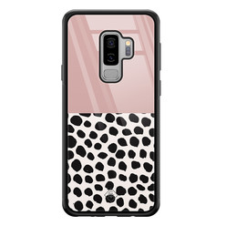 Casimoda Samsung Galaxy S9 Plus glazen hardcase - Pink dots