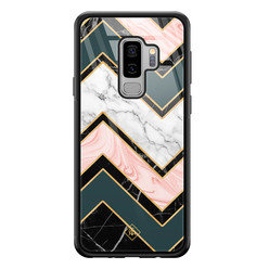 Casimoda Samsung Galaxy S9 Plus glazen hardcase - Marmer triangles