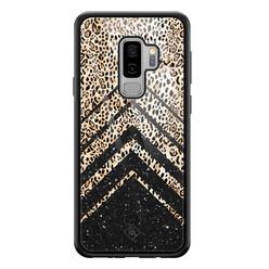 Casimoda Samsung Galaxy S9 Plus glazen hardcase - Chevron luipaard