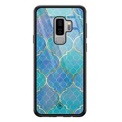 Casimoda Samsung Galaxy S9 Plus glazen hardcase - Geometrisch blauw