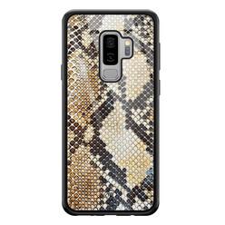 Casimoda Samsung Galaxy S9 Plus glazen hardcase - Golden snake