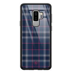 Casimoda Samsung Galaxy S9 Plus glazen hardcase - Tartan blauw