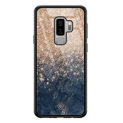 Casimoda Samsung Galaxy S9 Plus glazen hardcase - Marmer blauw rosegoud