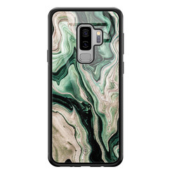 Casimoda Samsung Galaxy S9 Plus glazen hardcase - Green waves