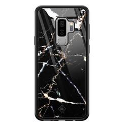 Casimoda Samsung Galaxy S9 Plus glazen hardcase - Marmer zwart
