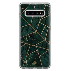 Casimoda Samsung Galaxy S10 Plus siliconen hoesje - Abstract groen