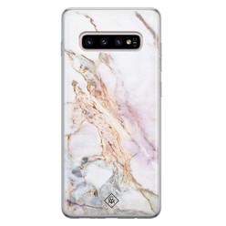 Casimoda Samsung Galaxy S10 Plus siliconen hoesje - Parelmoer marmer