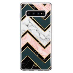 Casimoda Samsung Galaxy S10 Plus siliconen hoesje - Marmer triangles