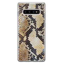 Casimoda Samsung Galaxy S10 Plus siliconen hoesje - Golden snake